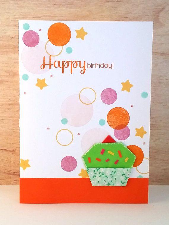 Handmade Origami Cupcake Birthday Card Cupcake Birthday Origami