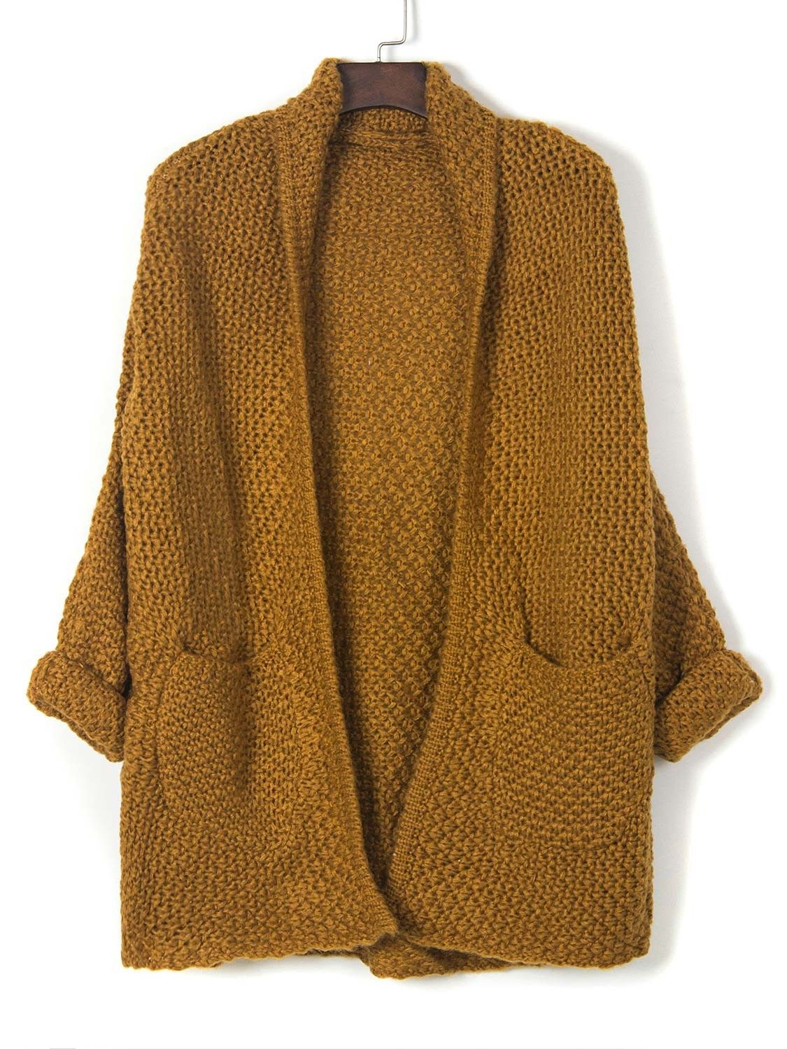 Brown Lapel Pocket Detail Open Front Long Sleeve Knit Cardigan