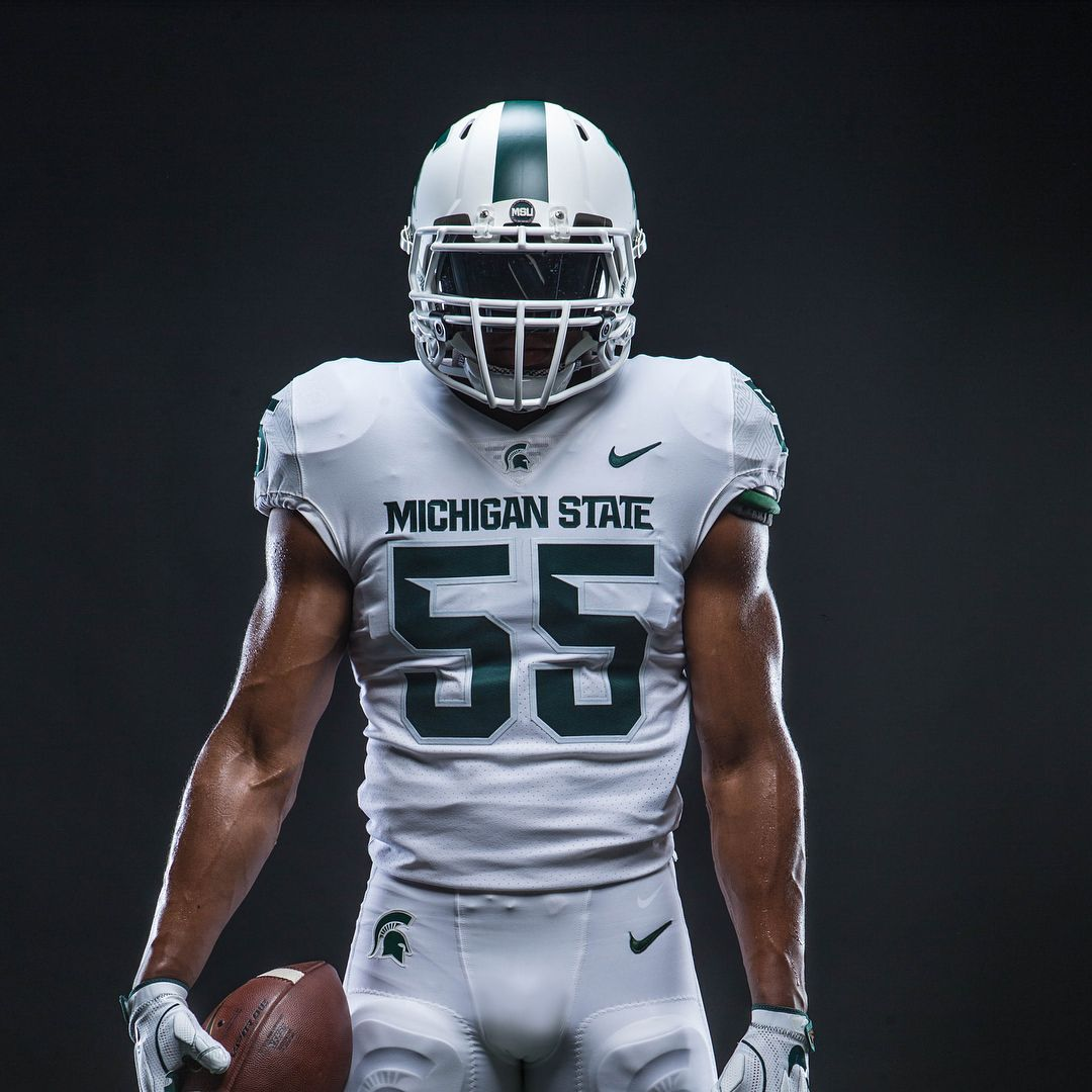 5 120 Likes 140 Comments Michigan State Football Msu Spartans On Instagram Take Your First Look A Football Uniforms Football Michigan State Football