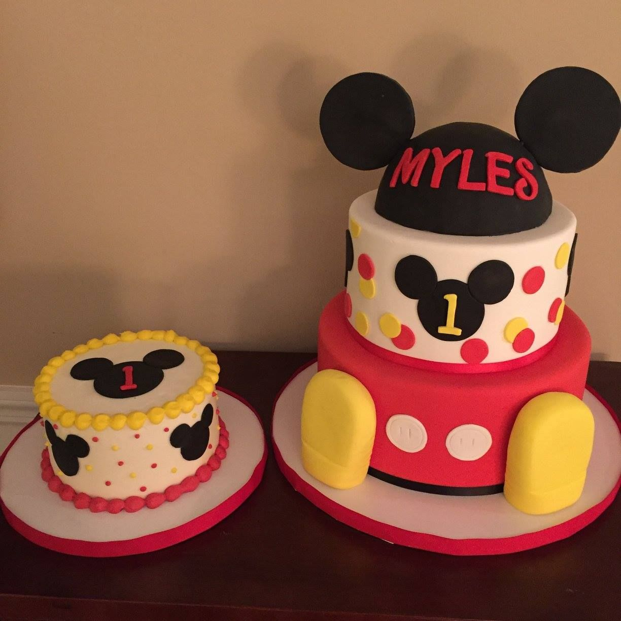 Marvelous Mickey Mouse Club House First Birthday Cakes By Calynne Mickey Personalised Birthday Cards Veneteletsinfo