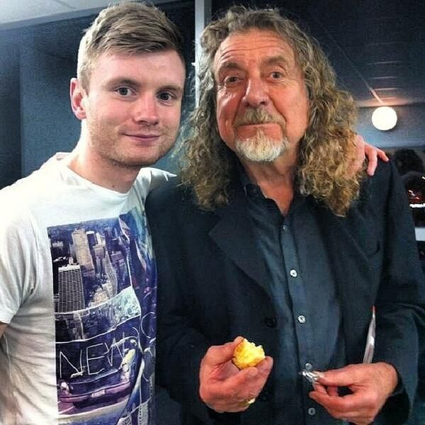 Robert Plant with a fan April 2, 2014