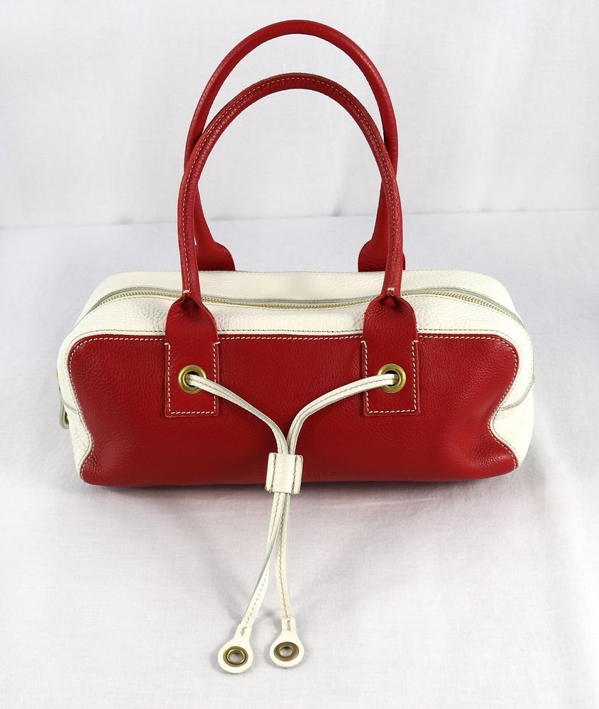 Authentic Car Shoe By Prada Red Off White Pebble Leather Handbag 12x5 Italy Nm Carshoe Satchel