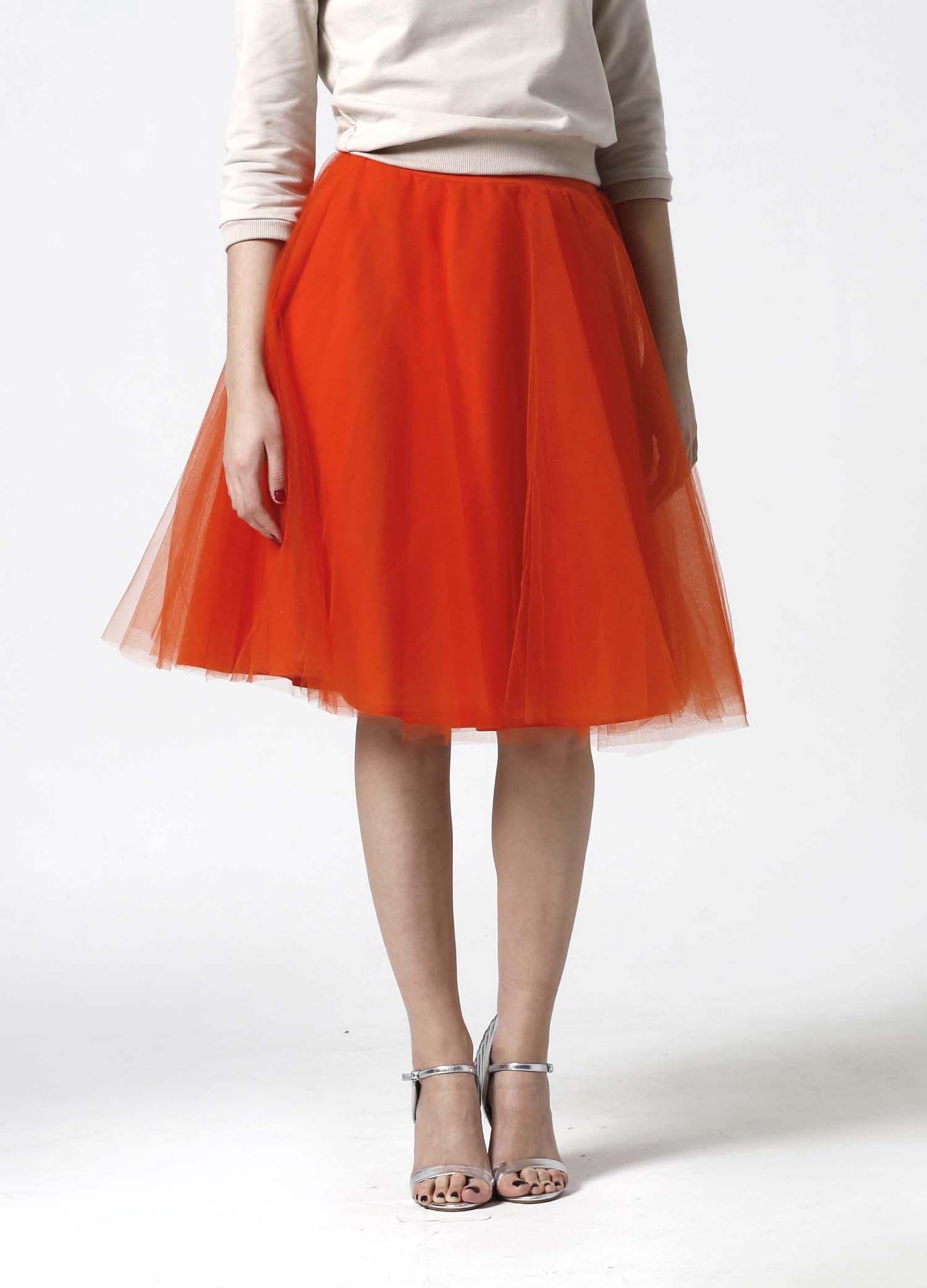 156e8c2ed583 Tylová sukňa Midi oranžová.