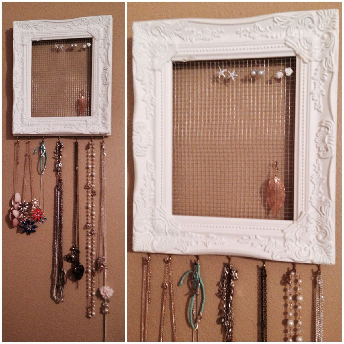 DIY jewelry organizer. Frame, and hooks from hobby lobby. Chicken ...