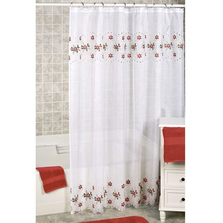 Poinsettia Cutwork Holiday Shower Curtain