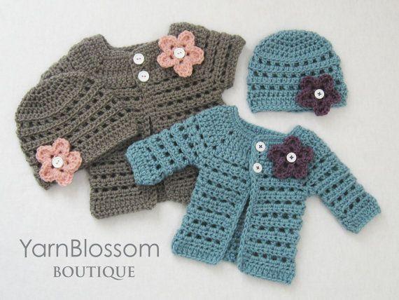 PATRÓN DE CROCHET Baby Girl Mini señorita Cardigan y Beanie (4 ...