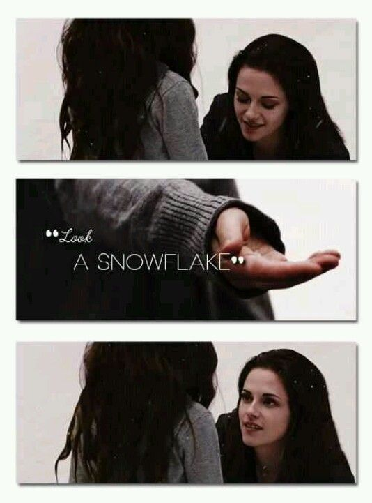 snowflake - if you're going to get technical the snowflake would have melted because of Renesmee's  warm skin which is only mentioned in the book the movie didn't go into her skin temperature