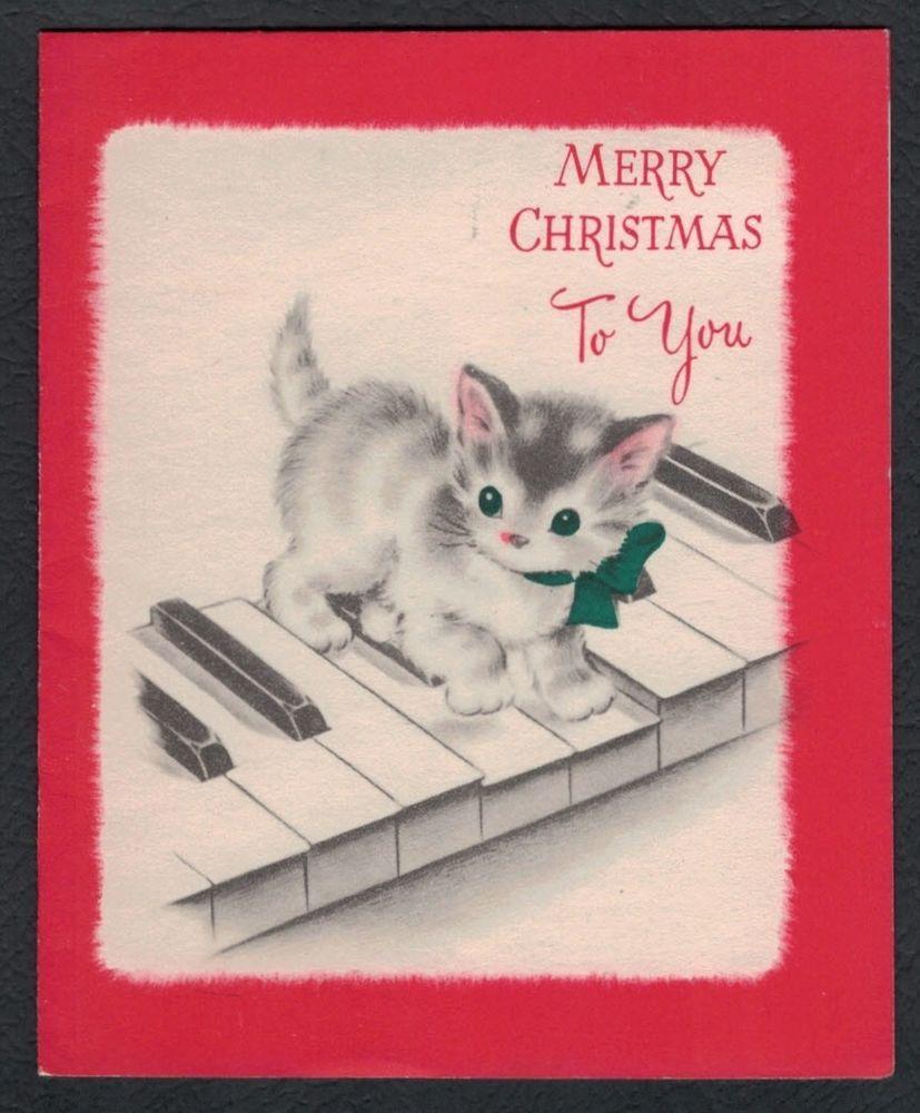 Norcross pink ears white kitten on piano keys vintage christmas card