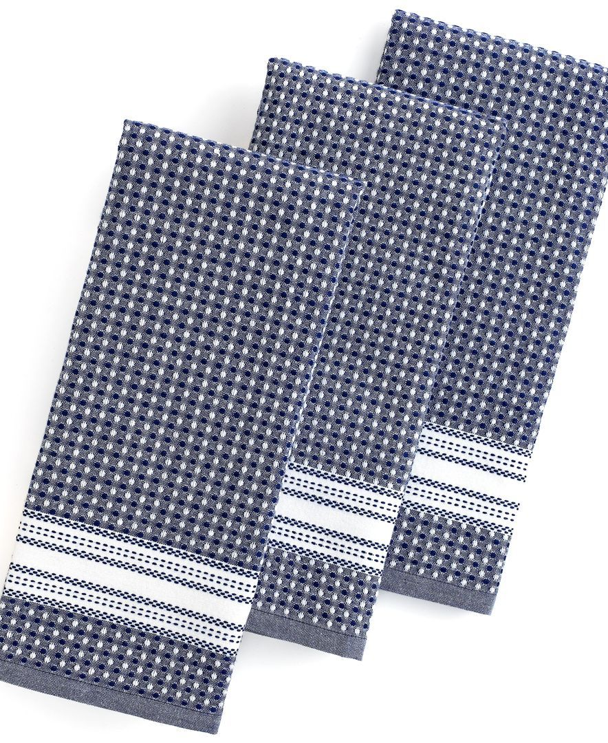 Martha Stewart Collection 3-Pc. Waffle Weave Kitchen Towels ...