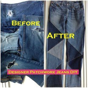 Designer Patchwork Jeans Remake -   13 DIY Clothes Remake style ideas