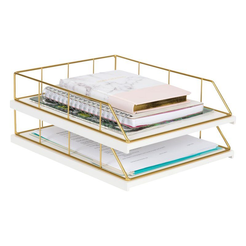 Mccaslin Wood And Metal File Organizer Gold Office Decor Office Decor Professional Decor