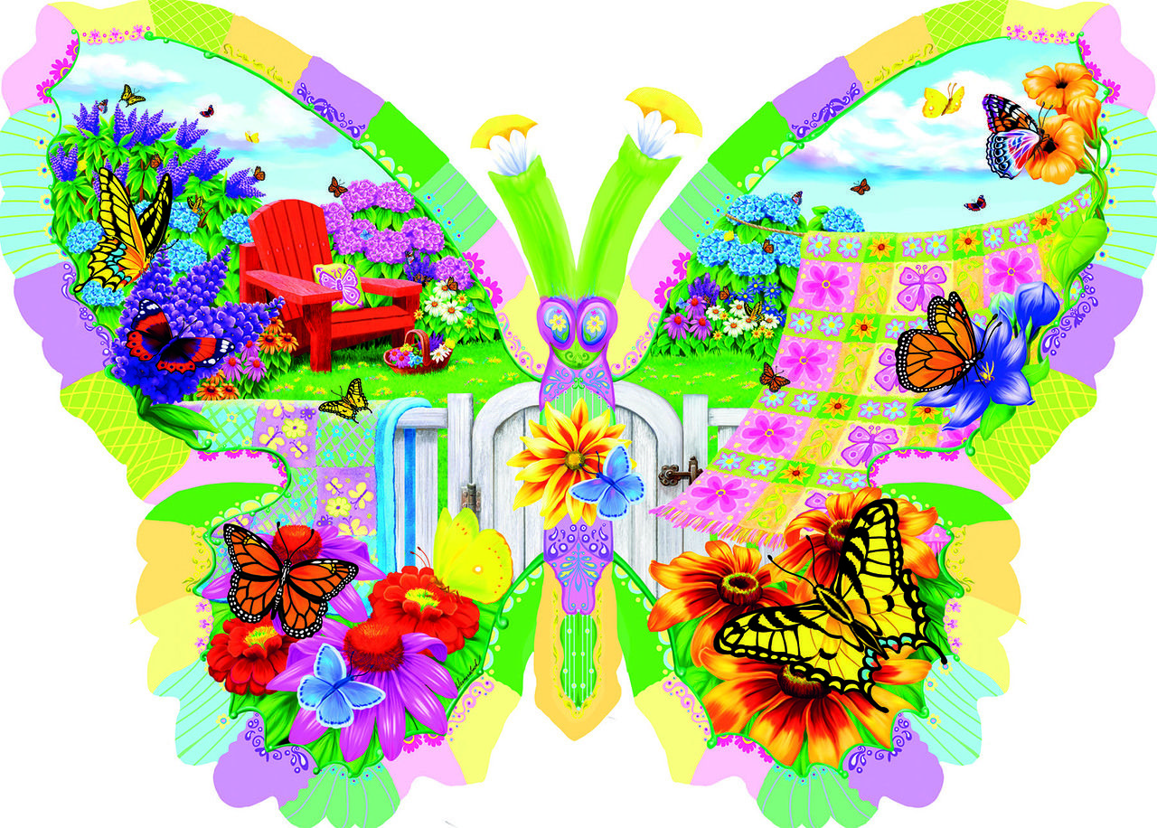 Butterfly Summer - 1000pc Shaped Jigsaw Puzzle By Sunsout in