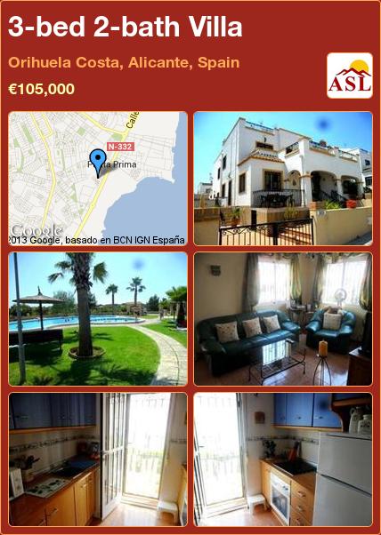 3-bed 2-bath Villa in Orihuela Costa, Alicante, Spain ►€105,000 #PropertyForSaleInSpain