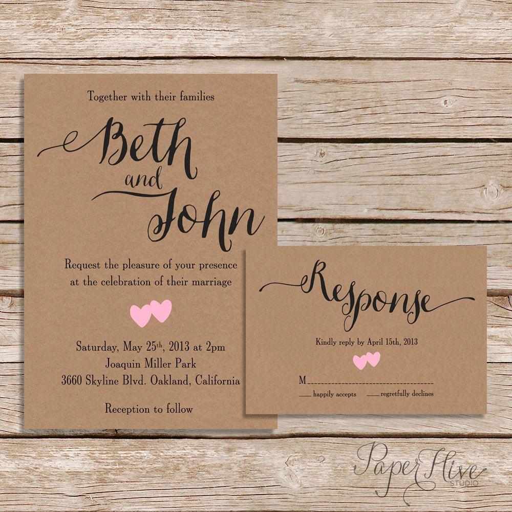 Printable Wedding Invitation & RSVP / Kraft Paper
