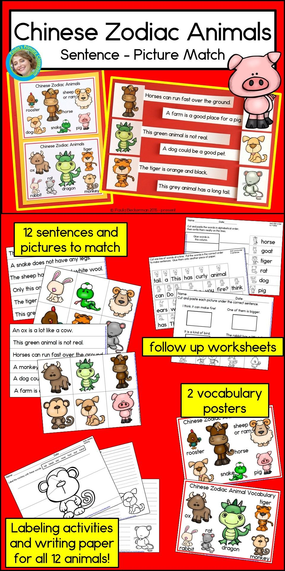 Your Students Will Love Learning About Chinese New Year And The 12 Animals Of The Zodiac With These Fun Ha Animal Sentence Chinese New Year Vocabulary Posters