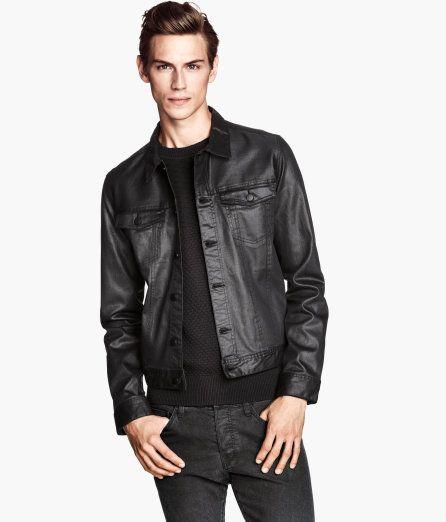 H M Waxed Denim Jacket Jean Jacket Men Fashion Mens Outfits