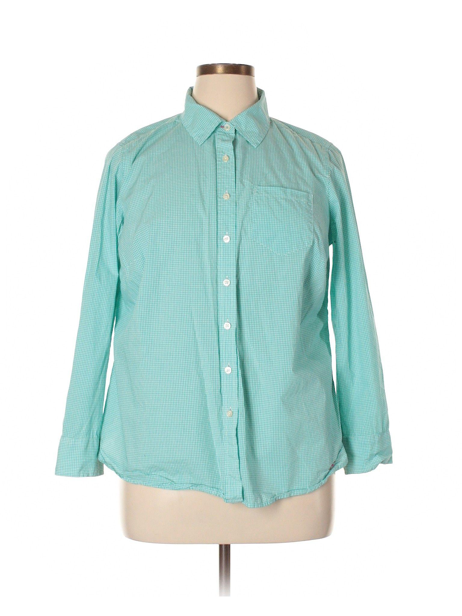 82568301 Talbots Long Sleeve Button Down Shirt: Size 18.00 Teal Women's Tops - $23.99