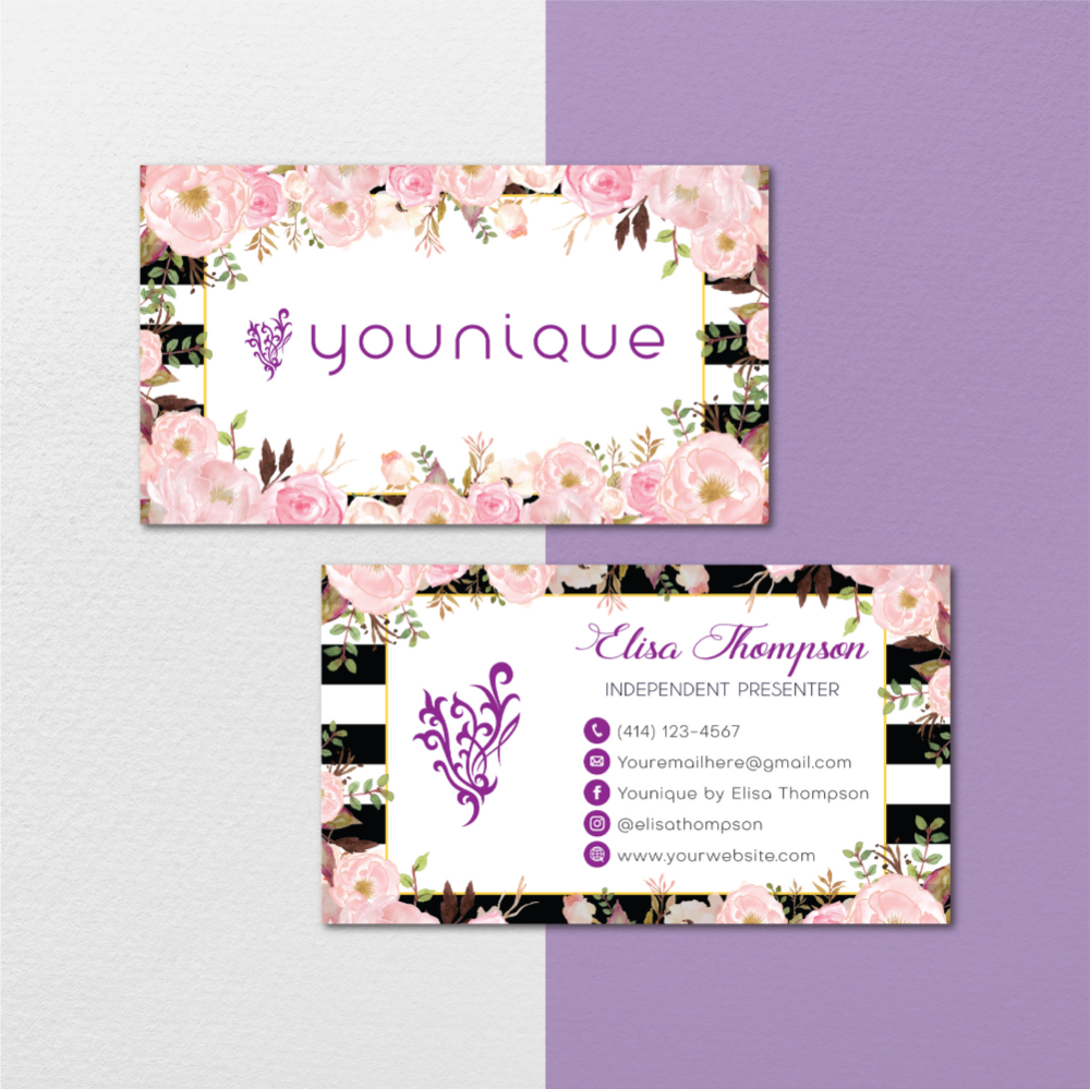 Floral Younique Business Cards Personalized Younique Business Card Yq22 On Storenvy Younique Business Cards Younique Business Custom Business Cards