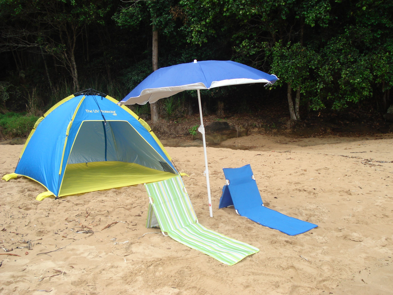 Large Shelta Uv Tent With Foldabrella Beach Umbrella Plus 2 Chairs