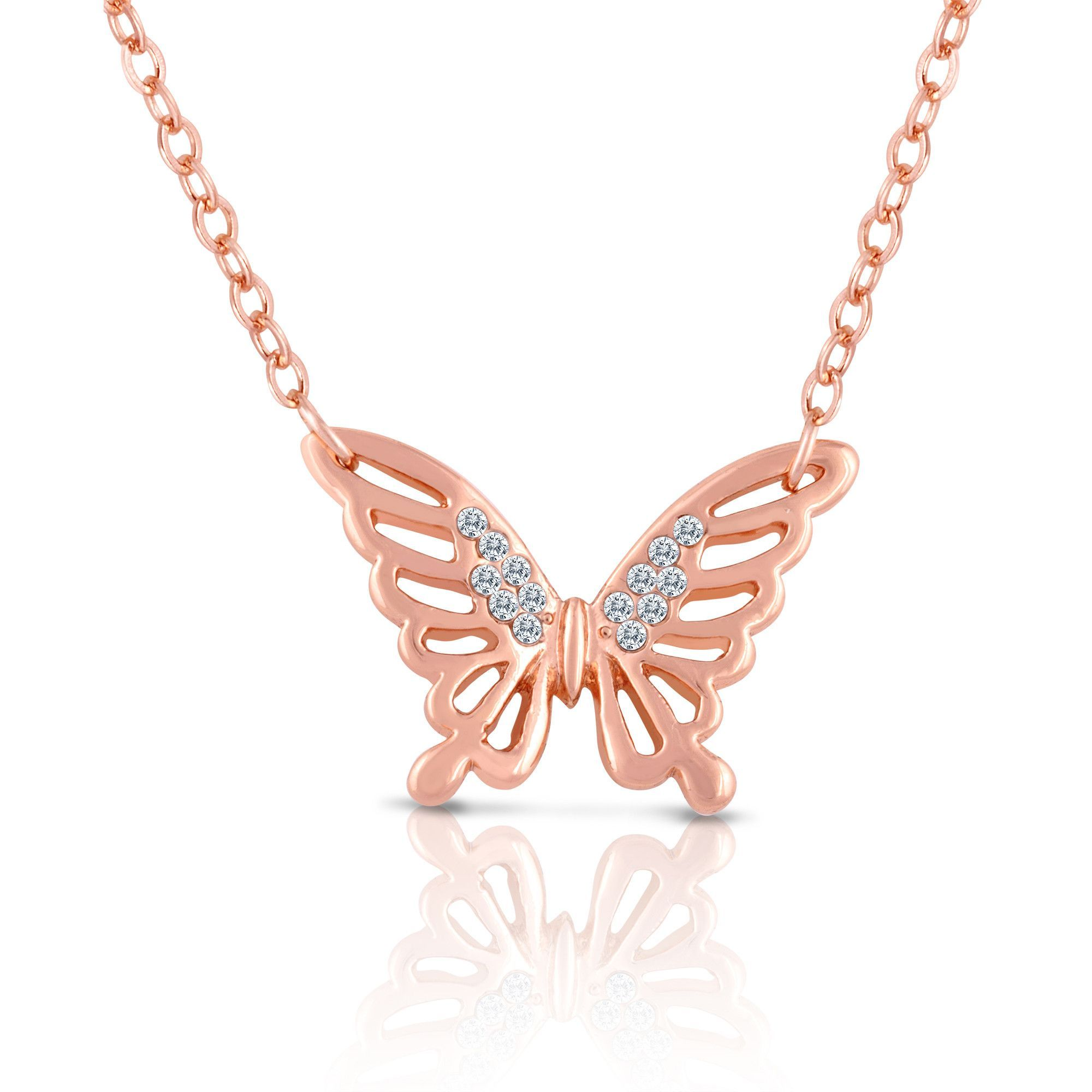 Rose Gold Butterfly Necklace with Crystals for Women Teens Girls