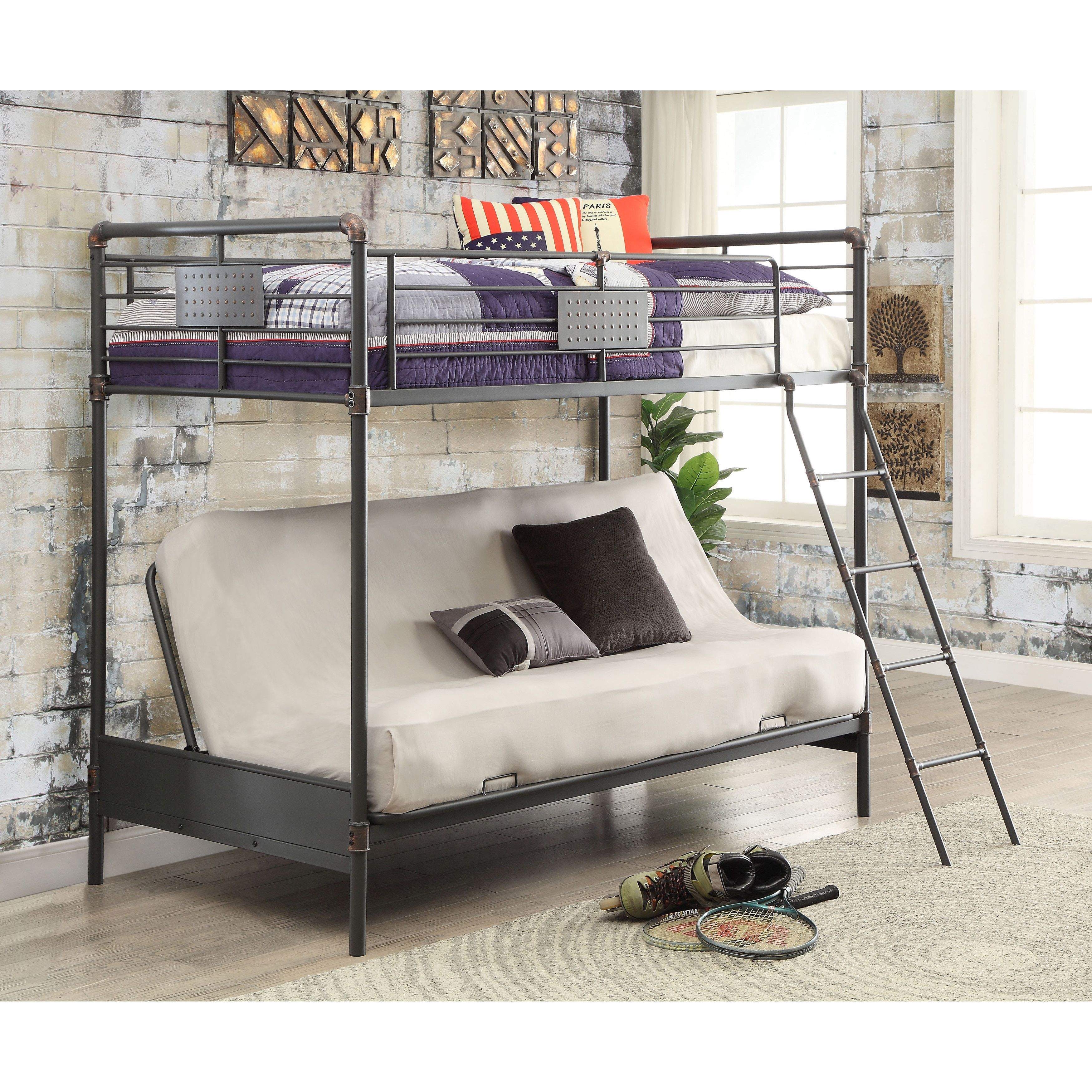 Maximize functionality without sacrificing design with this trendy,  industrial style twin over futon bunk bed. The antique black metal frame  features ...