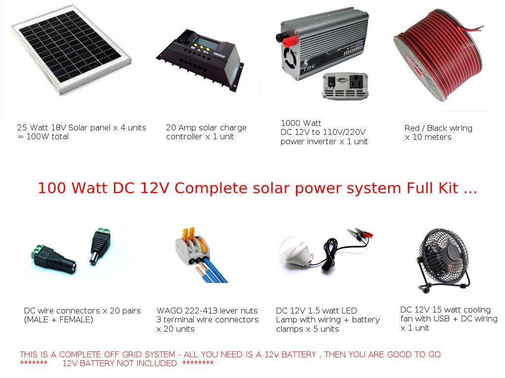 12v Cabin Wiring Schematic Diagram Off Grid Full Kit 100w Solar Power System Dc Pv