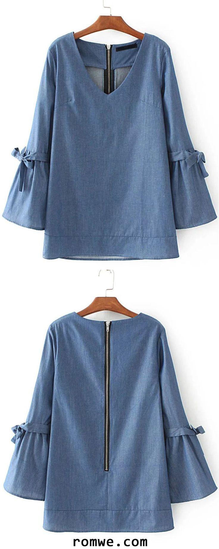 Blue V Neck Tie Detail Zipper Back Denim Blouse - blouses 82d1ebc02e060
