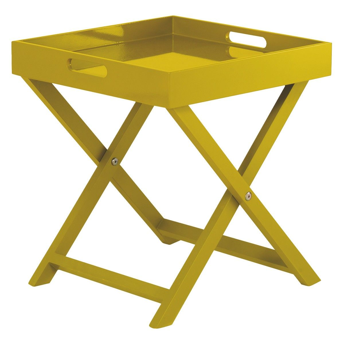 Oken Yellow Folding Side Table With Removable Tray Top Yellow  # Muebles Macabane