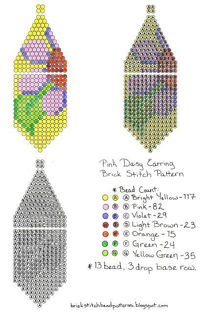 Free Pink Daisy Beaded Brick Stitch Earring Pattern Beading
