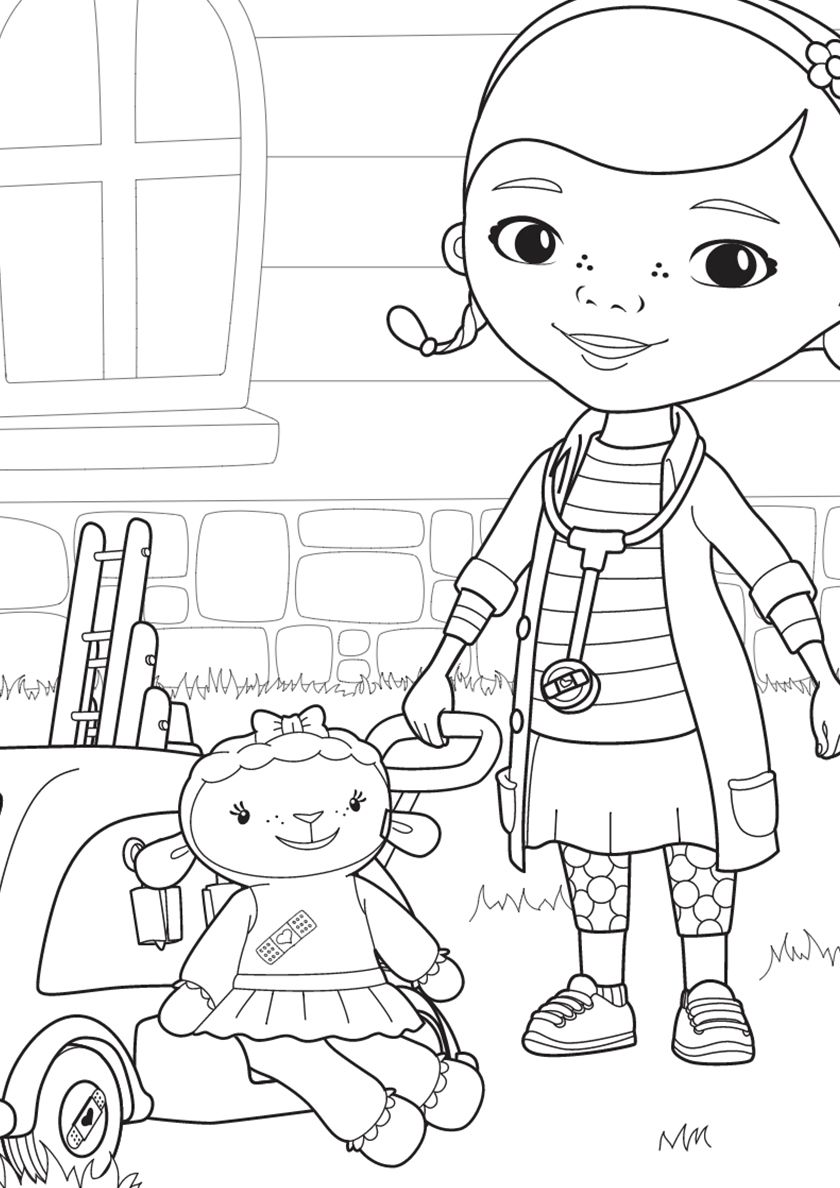 Doc And Lambie For A Walk High Quality Free Coloring From The