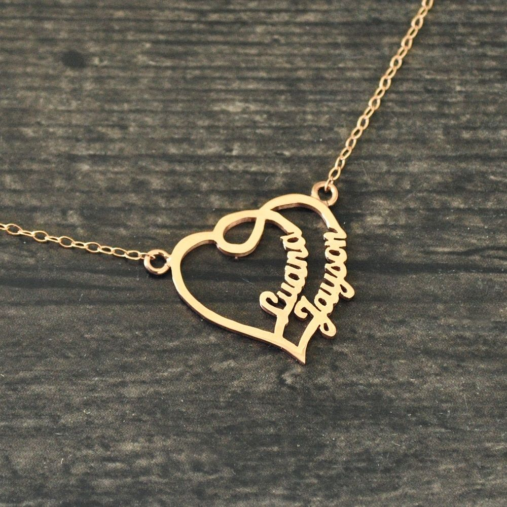 SILVER TWO NAMES COUPLE NAME NECKLACE LOVE US SELLER PERSONALIZED GOLD PLATED