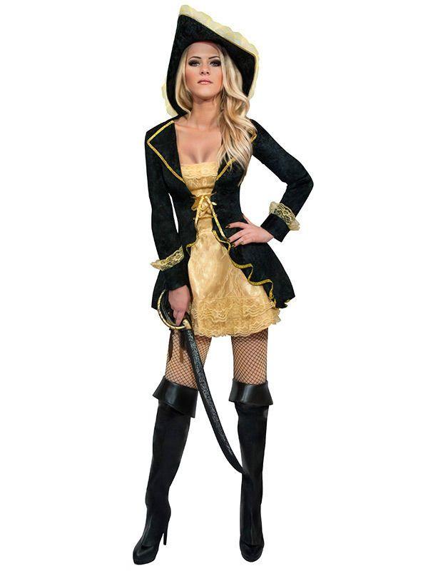 Sexy Piratin Damenkostum Schwarz Gold Aus Unserer Kategorie
