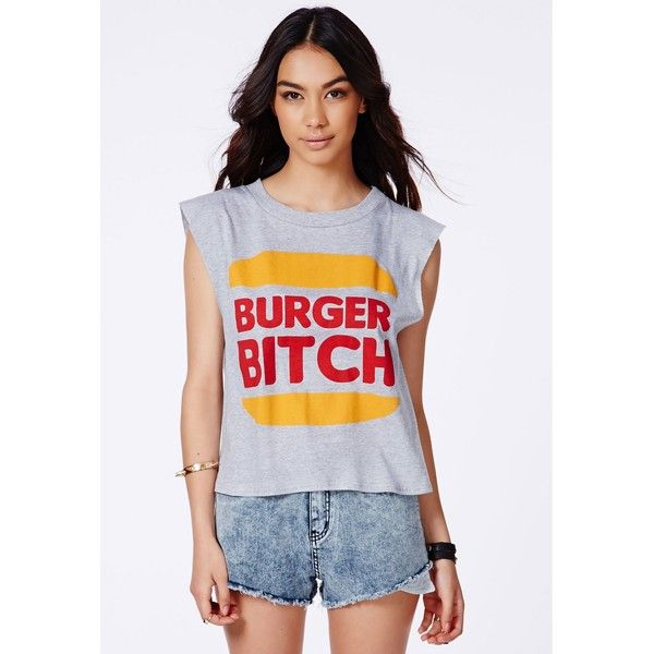 Missguided Alania 'Burger Bitch' Vest (11 AUD) ❤ liked on Polyvore featuring outerwear, vests, vest waistcoat, sleeveless vest, cotton vest and sleeveless waistcoat