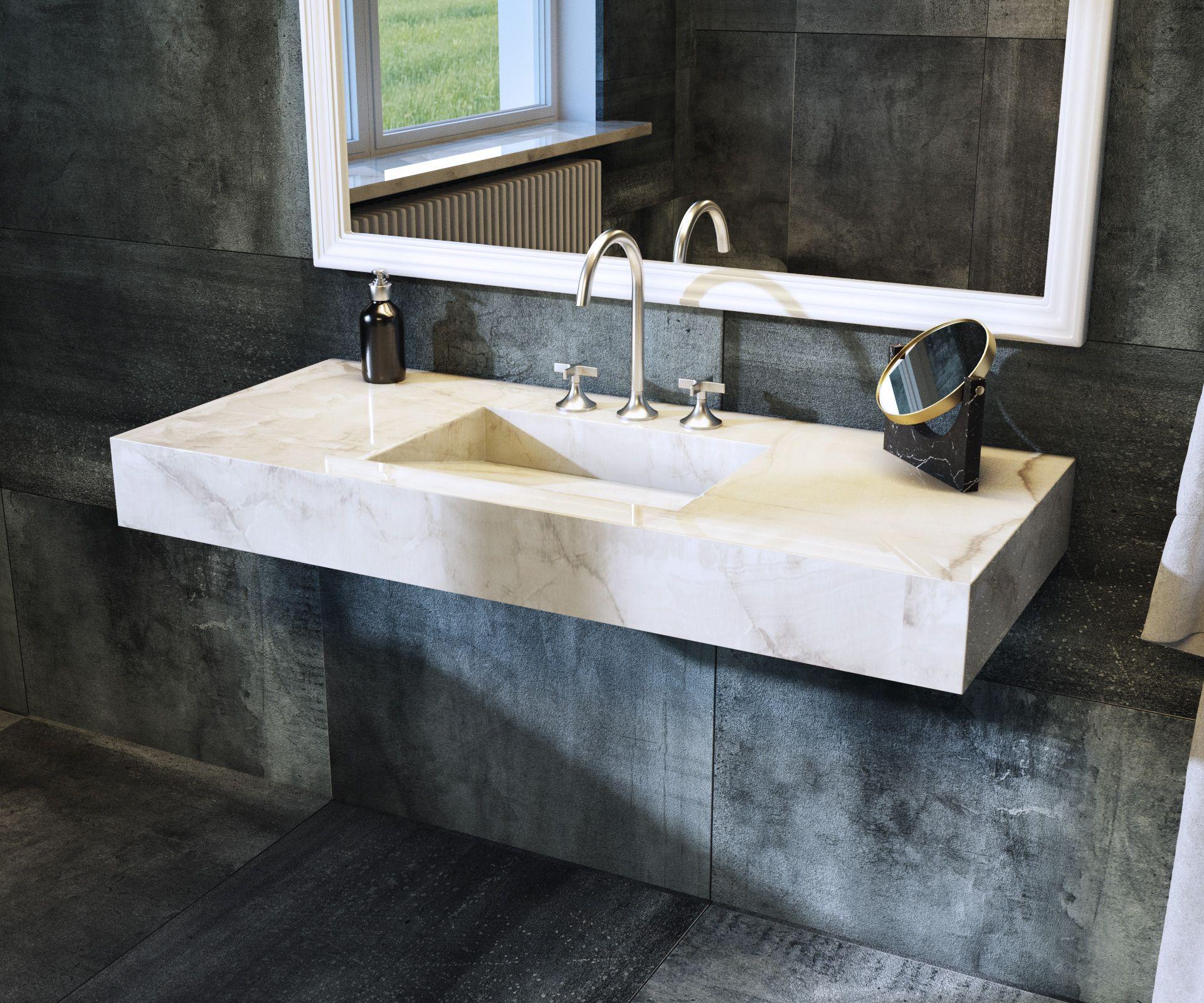 vasque en gres Plan vasque en céramique accompagné de sa vasque inclinée et intégrée dans  la masse, ce u2026 | Salle de bain, céramique bright onyx, carrelage grès  cérame ...