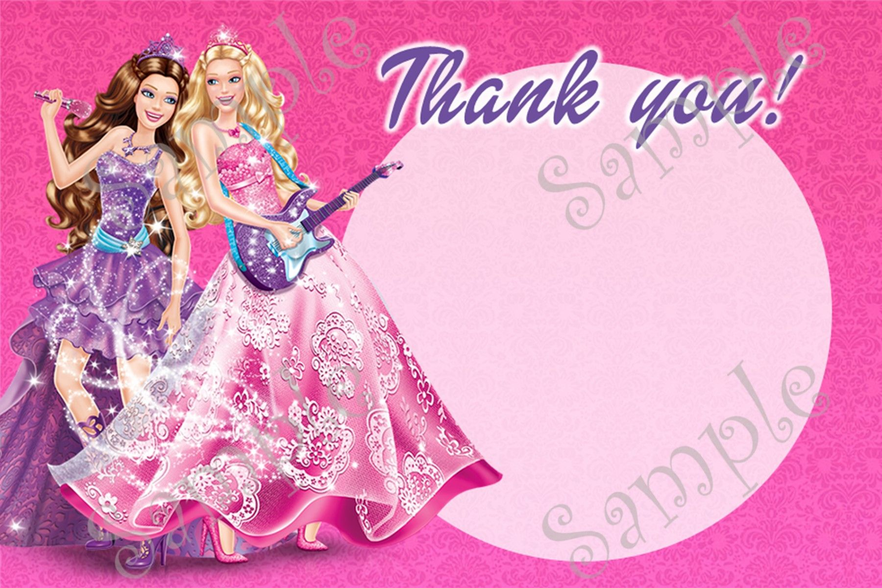 Barbie Princess and the Pop Star thank you card 4x6 Inches