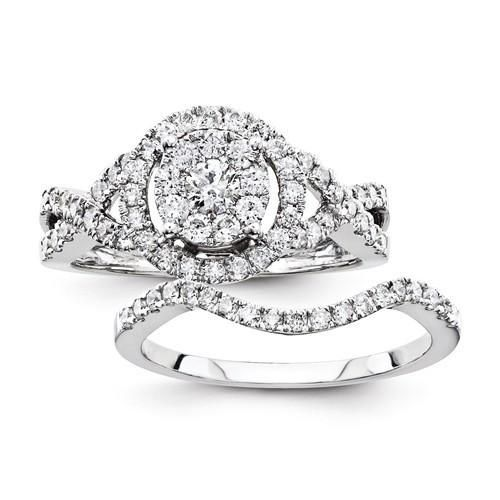 14K White Gold MultiCenter Diamond Engagement Ring Stone weight