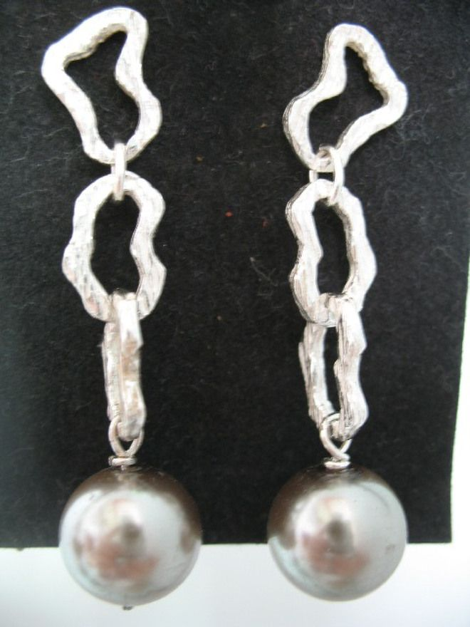 orecchini maglie e perla