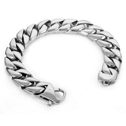 Mens Large Heavy Stainless Steel Bracelet Link Wrist Polished Silver