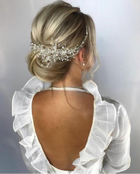 Rhinestone wedding hair pieces Wedding hair accessories Crystal Bridal hair piece Bridal hair vine Rose gold wedding headpiece Headband #bridalhair