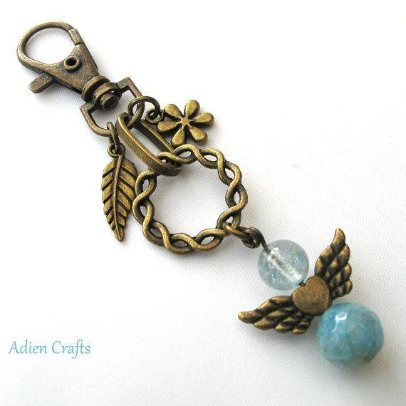 Guardian Angel Purse Charm Blue Gemstone Angel Bag by adiencrafts, £4.95