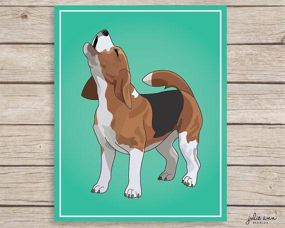 Beagle Art Print Howling Beagle Decor Barking By Julieannstudios