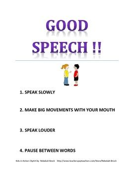 Freebie! Good Speech Poster for Speech Room, classroom and home
