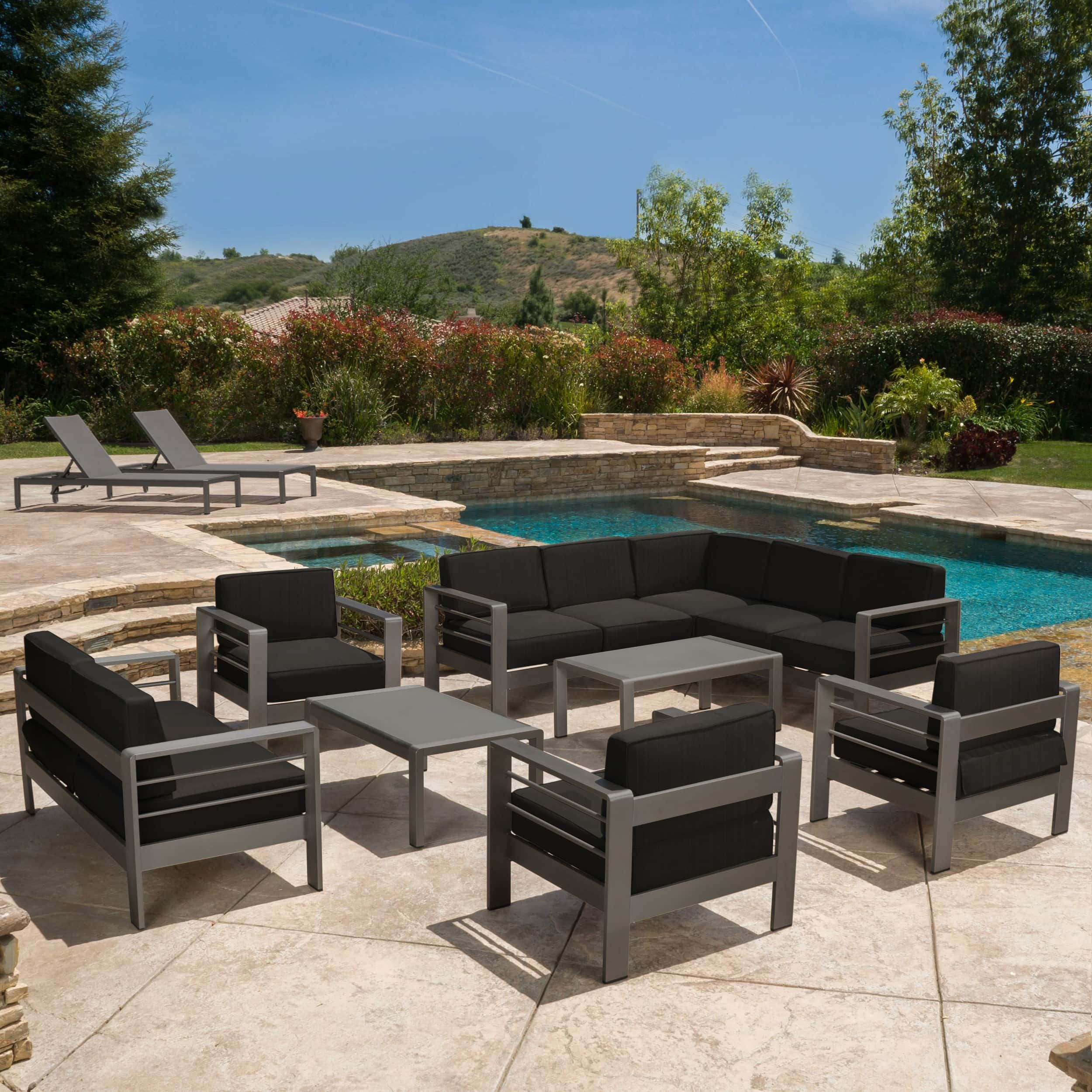 Cape Coral Aluminum 10 piece Estate Collection with Fire Table by