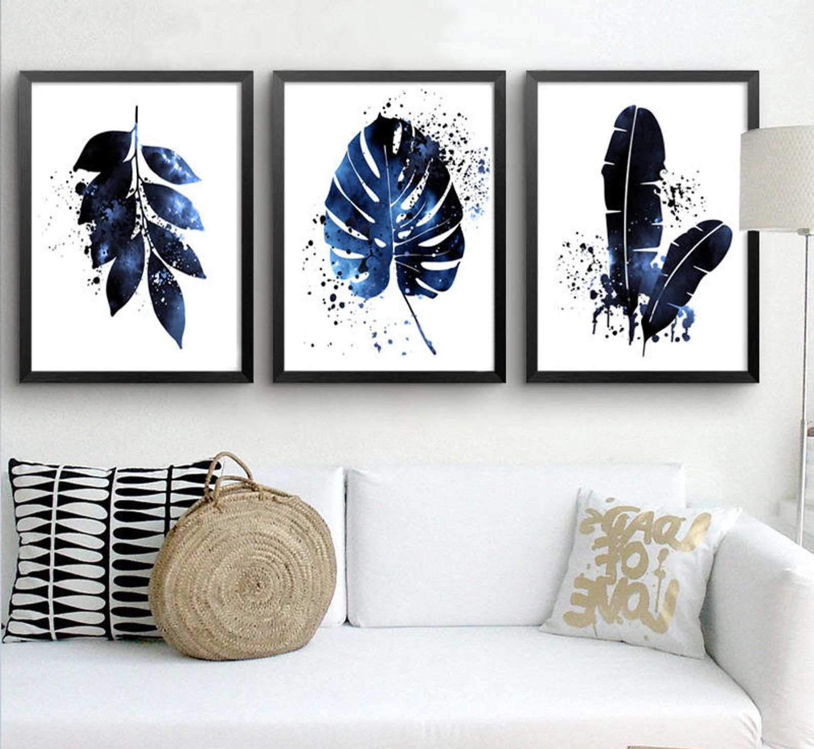 Tropical Leaf Print Set Of 3 Prints Indigo Art Leaves Painting Etsy In 2020 Leaf Art Navy Blue Wall Art Blue Wall Art