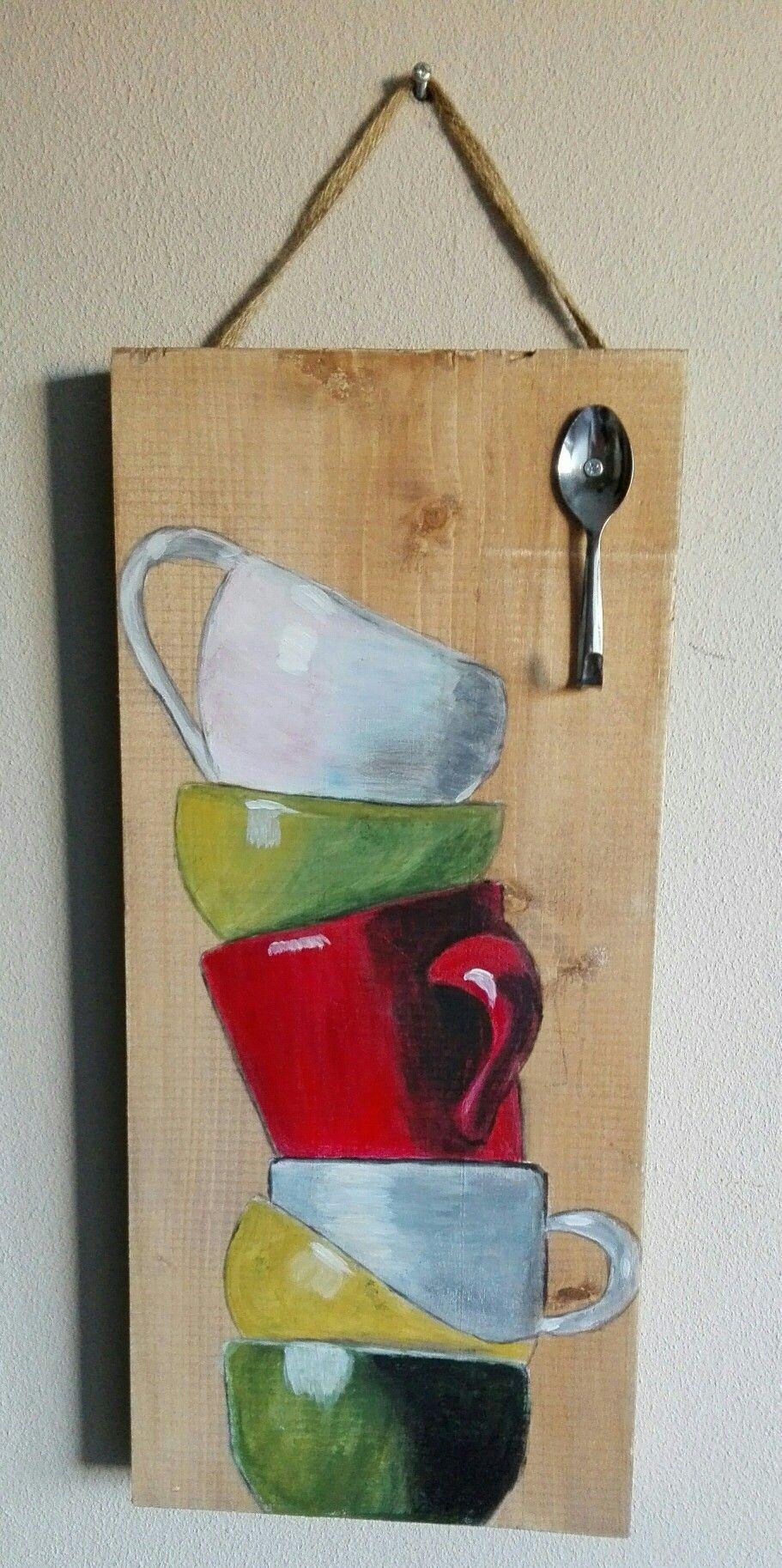 Muur Plank Voor Schilderijen.Plank Voor In De Keuken Met Een Lepeltje Als Haakje Schilderijen