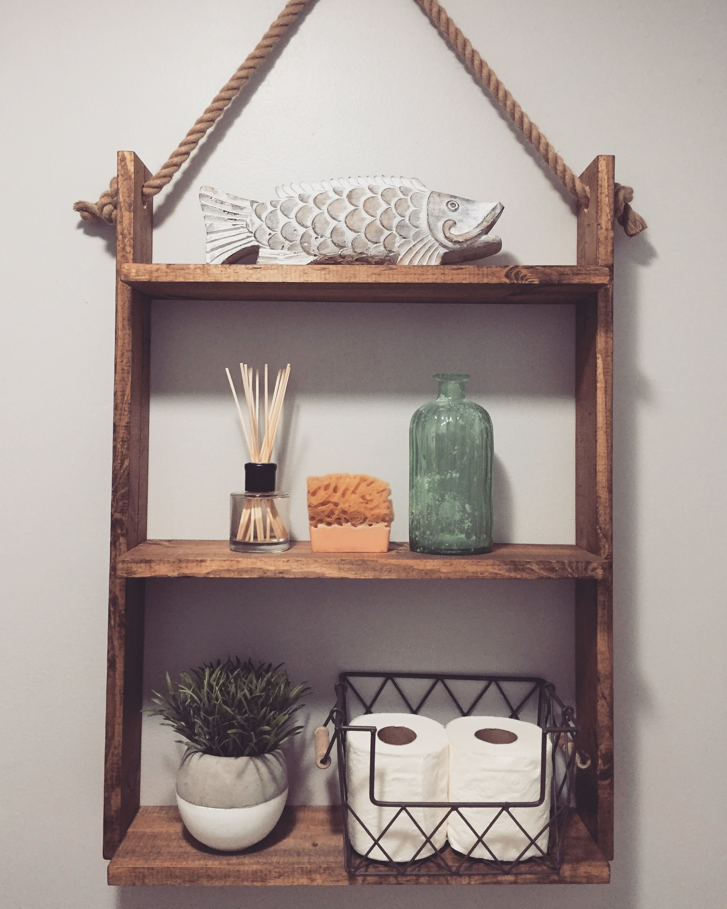 Diy Hanging Ladder Shelf Super Easy 1x4x8 1x6x8 1 Inch Rope From Craft Store Desired Wood Stain Diy Hanging Shelves Hanging Ladder Ladder Shelf
