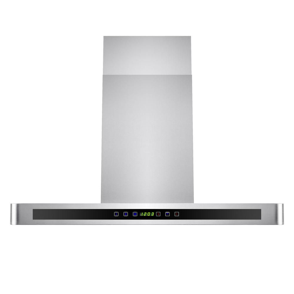 AKDY 30 in. Convertible Kitchen Wall Mount Range Hood in Stainless Steel with LEDs and Touch Control-HD-RH0124 - The Home Depot
