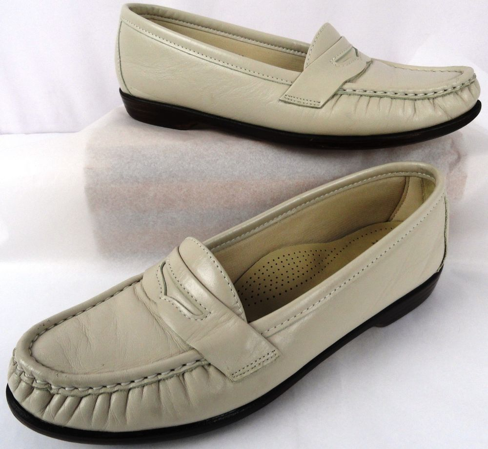 288b565e5ee SAS PENNY LOAFER 7.5 M Womens Ivory Slip On Tri Pad Comfort Apron Toe Shoes  USA  SAS  Loafers  Casual