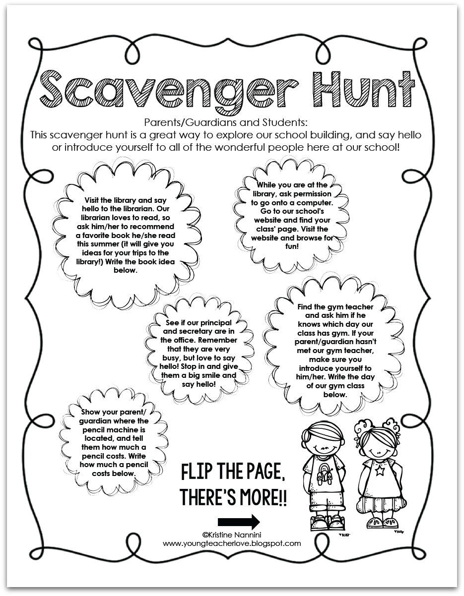 Back To School Scavenger Hunt Freebie  Open House School