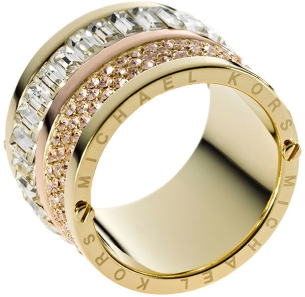 Michaelkors Ring Clear Glass Crystal Baguette And Rose Golden